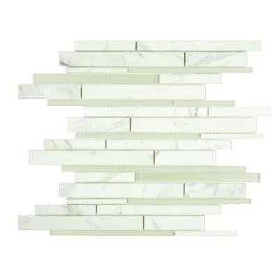 Tessera Grand Piano White Carrara 11-3/4 in. x 12-1/4 in. x 8 mm Glass and Marble Mosaic Wall Tile