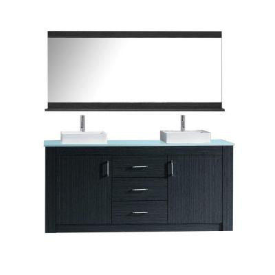 Tavian 72 in. W x 22 in. D x 33.4 in. H Vanity in Grey with Glass Vanity Top in Aqua and White Square Basin and Mirror