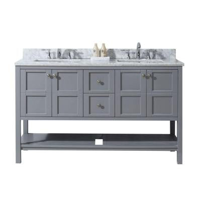 Winterfell 60 in. W x 22 in. D x 36 in. H Vanity in Grey with Marble Vanity Top in White and Round Basin