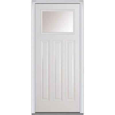 36 in. x 80 in. Classic Clear Glass 1/4 Lite 3-Panel Primed White Fiberglass Smooth Prehung Front Door