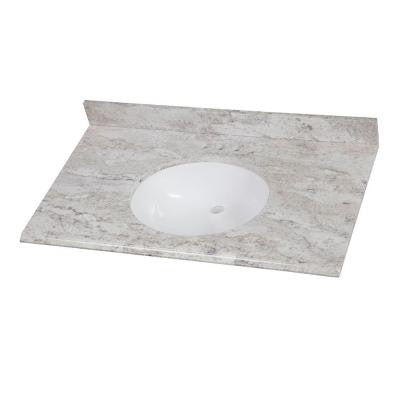 37 in. Stone Effects Vanity Top in Winter Mist with White Basin