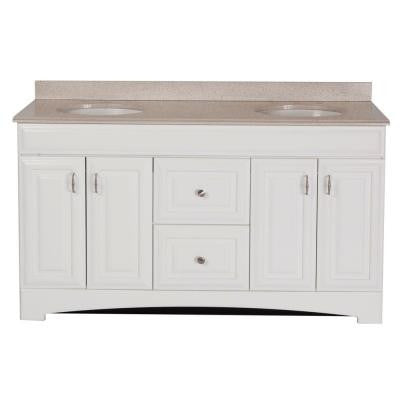 Providence 60 in. Vanity in White with Colorpoint Vanity Top in Maui