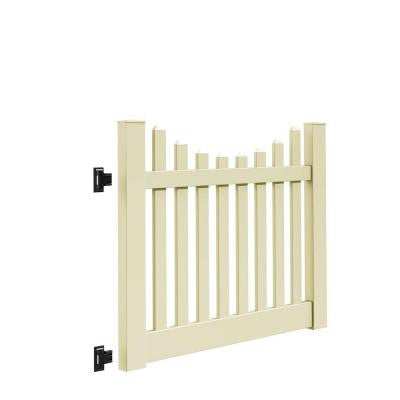 Kettle Scallop 5 ft. x 4 ft. Sand Vinyl Un-Assembled Fence Gate