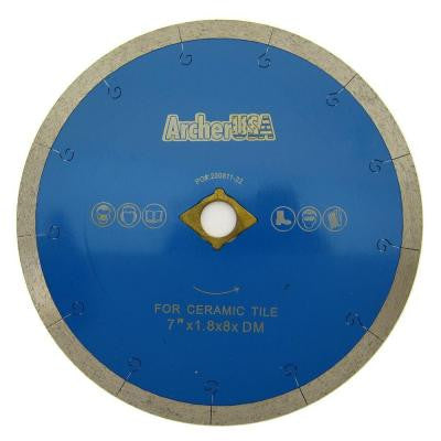 7 in. Continuous Rim Diamond Blade with J-Slot for Tile Cutting
