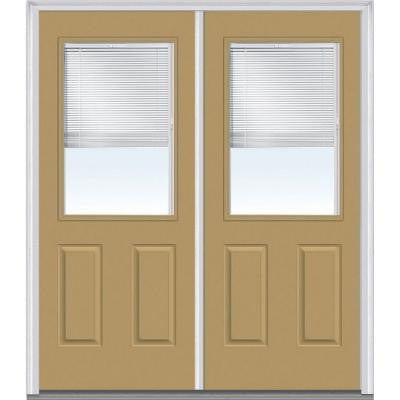 60 in. x 80 in. Classic Clear Glass RLB 1/2 Lite 2-Panel Painted Majestic Steel Double Prehung Front Door