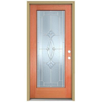 36 in. x 80 in. Champagne Full Lite Unfinished Mahogany Wood Prehung Front Door with Brickmould and Zinc Caming