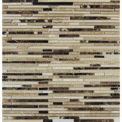 Emperador Blend Bamboo 12 in. x 12 in. Brown Marble Mesh-Mounted Mosaic Tile