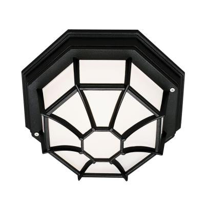 Stewart 1-Light Black Outdoor Flush Mount