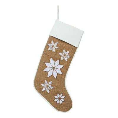 19 in. Burlap Large Snowflakes Stocking