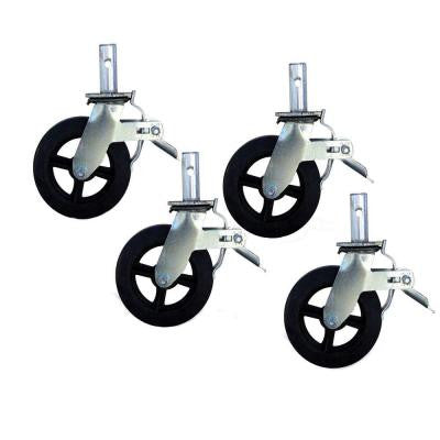 8 in. Caster with Foot Brake 2000 lb. Load Capacity (4-Pieces)
