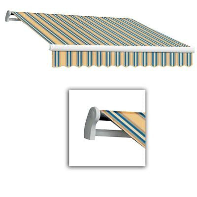 14 ft. Maui-LX Left Motor Retractable Acrylic Awning with Remote (120 in. Projection) in Tan/Teal