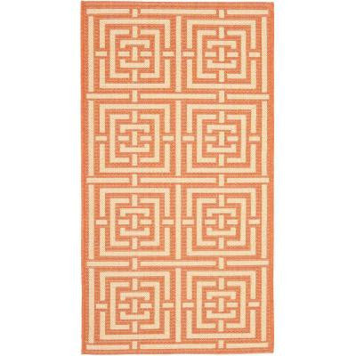 Courtyard Terracotta/Cream 9 ft. x 12 ft. Indoor/Outdoor Area Rug