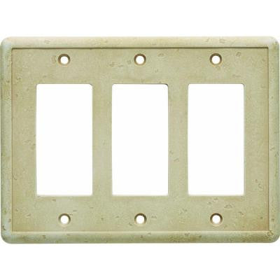 3 Gang GFCI Wall Plate - Travertine