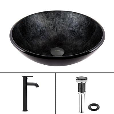 Glass Vessel Sink in Gray Onyx and Seville Faucet Set in Matte Black