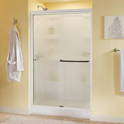 Simplicity 48 in. x 70 in. Semi-Framed Sliding Shower Door in White with Rain Glass and Bronze Hardware