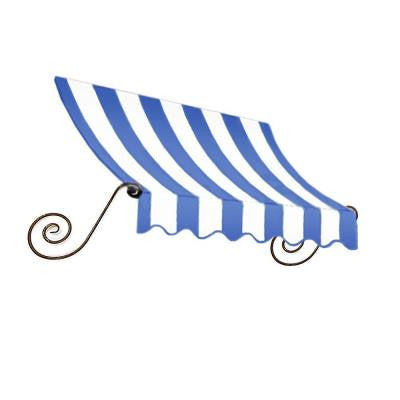8 ft. Charleston Window/Entry Awning (18 in. H x 36 in. D) in Bright Blue/White Stripe