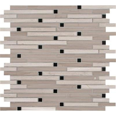 White Oak Interlocking 12 in. x 12 in. x 10 mm Honed Marble Mesh-Mounted Mosaic Tile (10 sq. ft. / case)