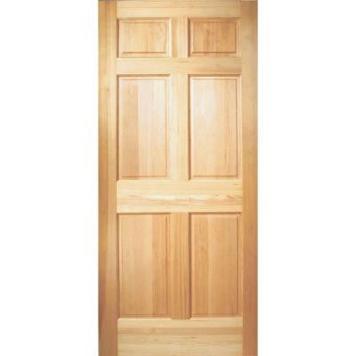 36 in. x 80 in. 6-Panel Unfinished Fir Front Door Slab