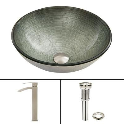 Glass Vessel Sink in Simply Silver and Duris Faucet Set in Brushed Nickel