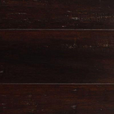 Handscraped Strand Woven Warm Espresso 1/2 in. x 5-1/8 in. x 72-7/8 in. Length Solid Bamboo Flooring (25.93 sq.ft./case)