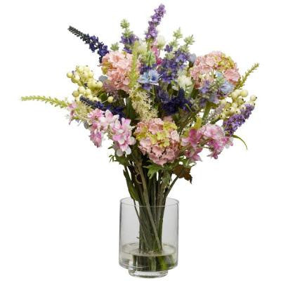 16 in. H Assorted Lavender and Hydrangea Silk Flower Arrangement