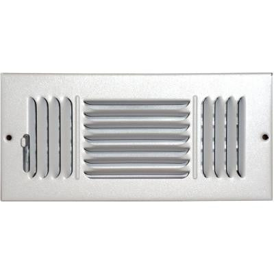 4 in. x 8 in. Ceiling/Sidewall Vent Register, White with 3-Way Deflection