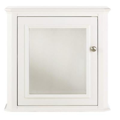 Belvedere 23.5 in. W Mirrored Wall Cabinet in White