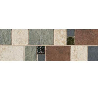 Continental Slate 4 in. x 12 in. x 6 mm Porcelain Decorative Accent Mosaic Floor and Wall Tile