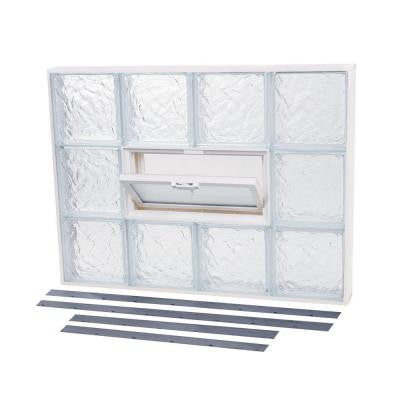 23.875 in. x 21.875 in. NailUp2 Vented Ice Pattern Glass Block Window