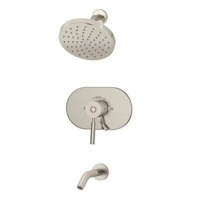 Sereno 1-Handle 1-Spray Tub and Shower Faucet in Satin Nickel