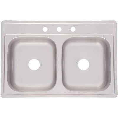 Top Mount Stainless Steel 33x22x7 3-Hole Double Bowl Kitchen Sink