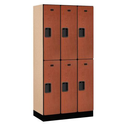 32000 Series 36 in. W x 76 in. H x 18 in. D 2-Tier Designer Wood Locker in Cherry