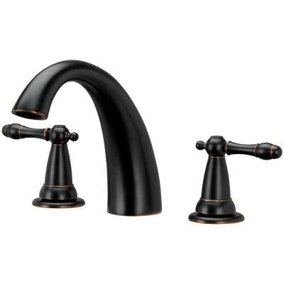 Bath Faucet-Roman Tub 2 Handle-J Spout-Brushed Bronze