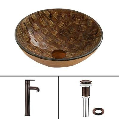 Glass Vessel Sink in Playa and Seville Faucet Set in Oil Rubbed Bronze