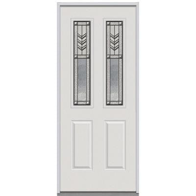 36 in. x 80 in. Prairie Bevel Decorative Glass 2 Lite 2-Panel Primed White Steel Replacement Prehung Front Door