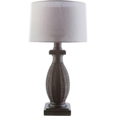 Oliver 28 in. Black Indoor/Outdoor Table Lamp with Gray Shade