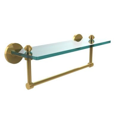 Southbeach Collection 16 in. W Glass Vanity Shelf with Integrated Towel Bar in Polished Brass
