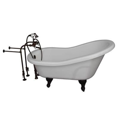 5 ft. Acrylic Ball and Claw Feet Slipper Tub in White with Oil Rubbed Bronze Accessories