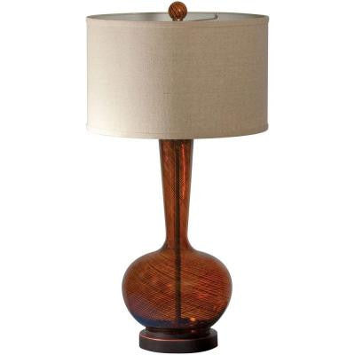 Fitzgerald 32 in. Amber Table Lamp with Beige Linen Shade