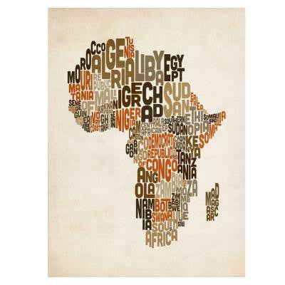 16 in. x 24 in. Africa Text Map Canvas Art