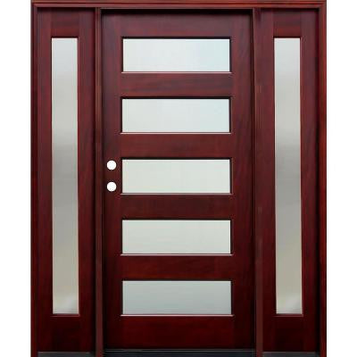 70 in. x 80 in. 5 Lite Mistlite Stained Mahogany Wood Prehung Front Door w/ 6 in. Wall Series,14 in. Sidelites