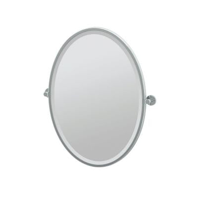 Channel 23.63 in. x 27.50 in. Framed Single Oval Mirror in Chrome