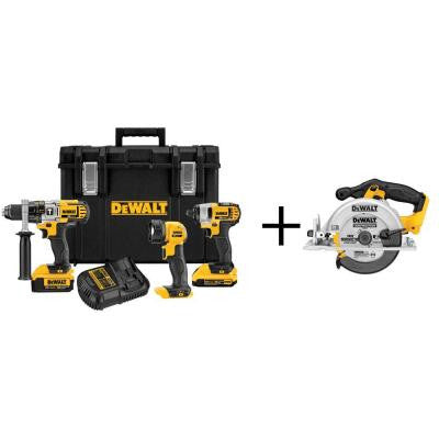 20-Volt MAX Lithium-Ion Cordless Combo Kit with Tough Case (3-Tool) with Free Circular Saw