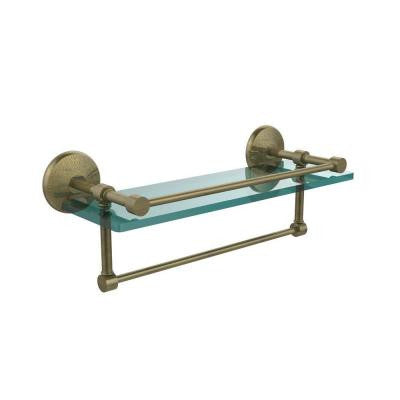 5 in. W x 16 in. L Gallery Glass Shelf with Towel Bar in Antique Brass