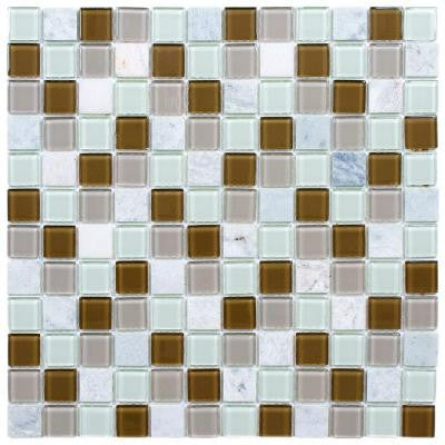 Spectrum Square Manzanilla 11-1/2 in. x 11-1/2 in. x 4 mm Glass and Stone Mosaic Wall Tile