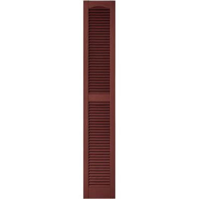 12 in. x 72 in. Louvered Vinyl Exterior Shutters Pair in #027 Burgundy Red