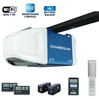 1-1/4 HPS Smartphone-Controlled Wi-Fi Belt Drive Garage Door Opener with Battery Backup and Ultra-Quiet Operation