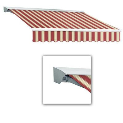 20 ft. LX-Destin with Hood Manual Retractable Acrylic Awning (120 in. Projection) in Burgundy/White Multi