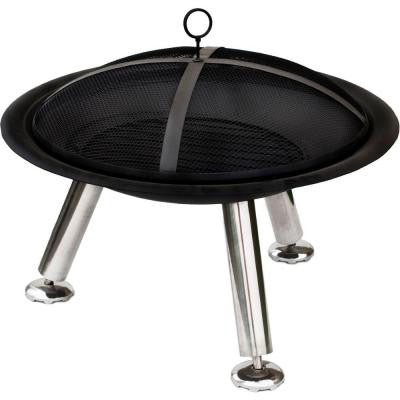 Stamford 24.4 in. H x 29.5 in. D Fire Pit in Black Finish