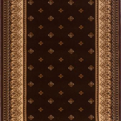Sapphire Fleur De Lis Chocolate 33 in. x Your Choice Length Roll Runner